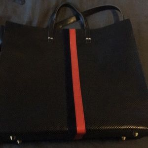 Clare v black with red and blue stripe perf bag